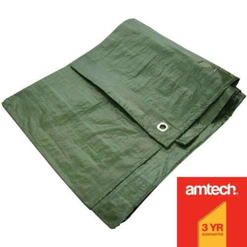 GREEN HEAVY DUTY WATERPROOF TARPAULIN TARP GROUND SHEET LIGHT WEIGHT CAMPING COV <br/> Covered by Amtech 3 Year Guarantee