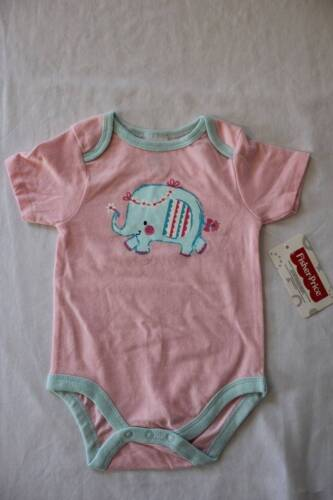NEW Baby Girls 6 - 9 Months Bodysuit Creeper Outfit Infant 1 Piece Pink Elephant