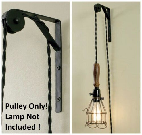 Wall Ceiling Mount Pulley Pendant Lamp Industrial Lighting Vintage Hanging Light