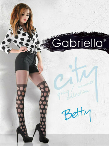 Patterned Mock Suspender Stockings Tights by Gabriella NEW  BETTY, VICKY.