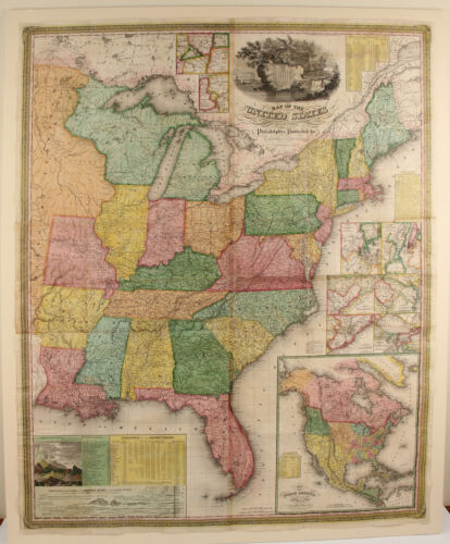 FIRST EDITION S. Augustus Mitchell & J. H. Young's Wall Map of the United States