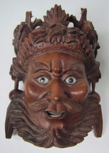 old Small Carved Asian Wood Man Devil Dogs Exquisite Detailing Eyes Teeth -ma8