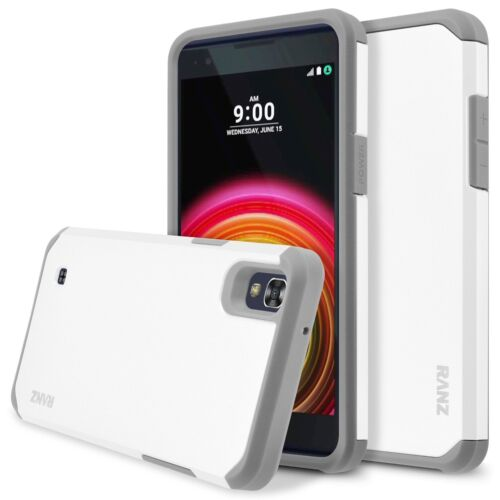 LG X power/ K6P Case, Hard Impact Dual Layer Shockproof Bumper Case - White