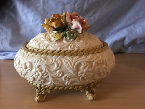 copadimonte Vintage FLORAL LIDDED TUREEN 1960's RARE Italy