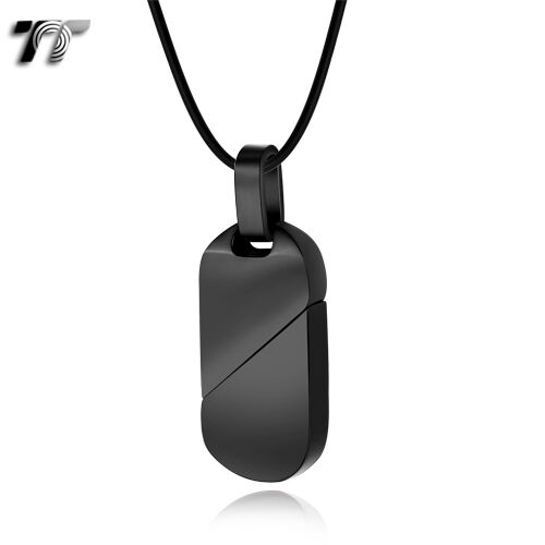 TT Black Stainless Steel Dog Tag Pendant Necklace (NP245D) NEW