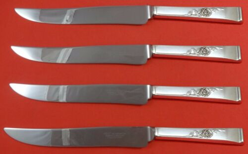 Classic Rose by Reed and Barton Sterling Steak Knife Set 4pc Texas Sized Custom
