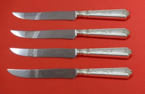 Saint Dunstan Chased by Gorham Sterling Steak Knife Set Texas Sized Custom