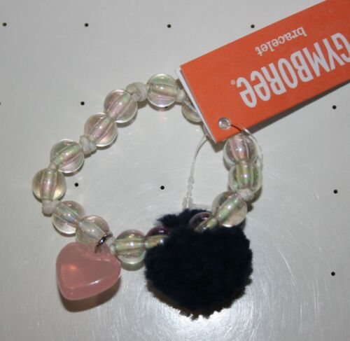 New Gymboree Heart & Pom Pom Stretch Clear Beaded Bracelet NWT Polar Pink Line