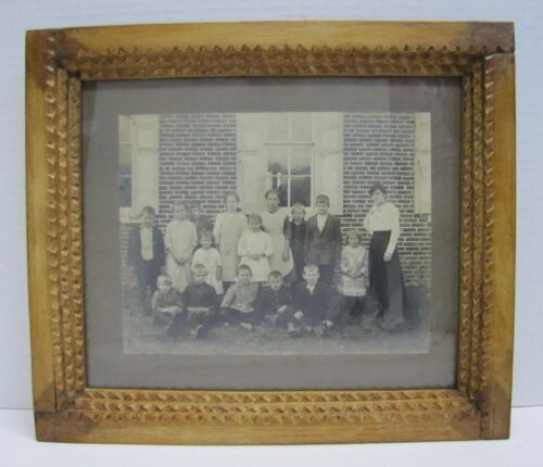 Antique Wooden Frame with Schoolhouse Picture Tramp Art Notch Teacher Children