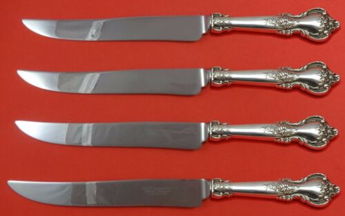 Delacourt by Lunt Sterling Silver Steak Knife Set 4pc Large Texas Sized Custom