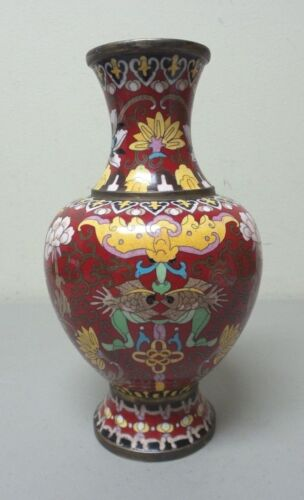"ANTIQUE CHINESE CLOISONNE ENAMEL ON BRONZE 8.25"" VASE, RED with CALIGRAPHY"