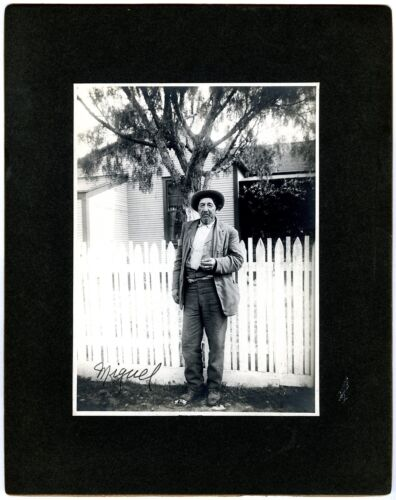 1890s MIGUEL~UNKNOWN MEXICAN MAN~ORIGINAL 8x10 CHAS A. BOWSER CABINET CARD PHOTO