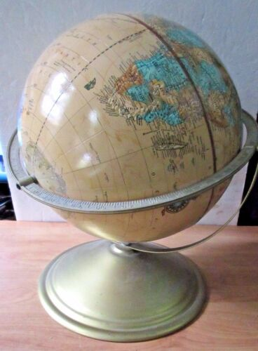 Vintage CRAM's IMPERIAL World Globe Metal Frame Antique Gold Mid Century