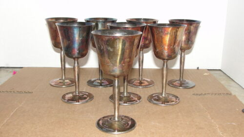 "EIGHT ""PILGRIM"" SILVERPLATE  WINE GOBLETS"
