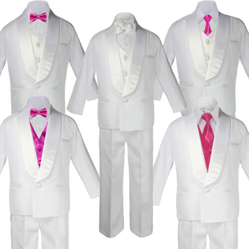 c4ba58be9a57 Kid White Satin Shawl Lapel Suits Tuxedo HOT PINK Satin Bow Necktie Vest Set