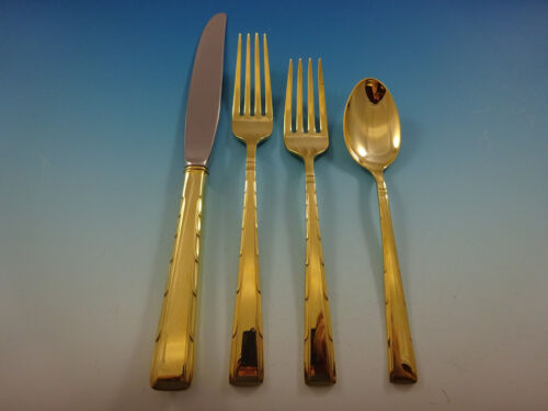 Horizon by Easterling Sterling Silver Flatware Service For 8 Set Gold Vermeil