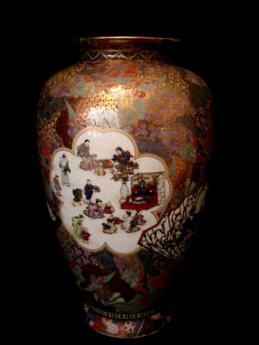 "14 1/4"" MARKED Satsuma JAPANESE SHOWA PERIOD SATSUMA VASE"