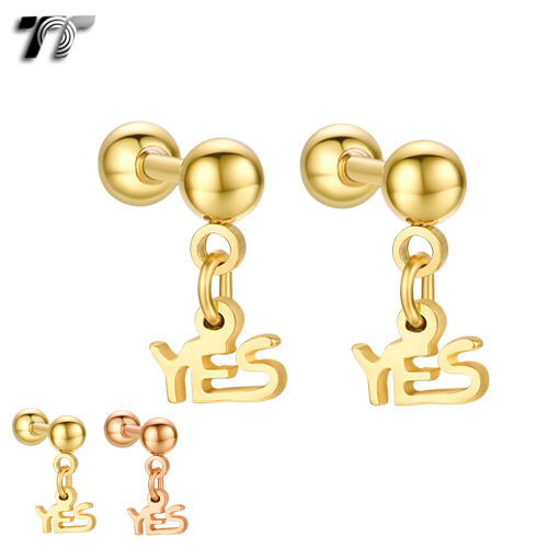 TT Surgical Steel YES Dangle Ear Cartilage Tragus Earrings (BE170) NEW