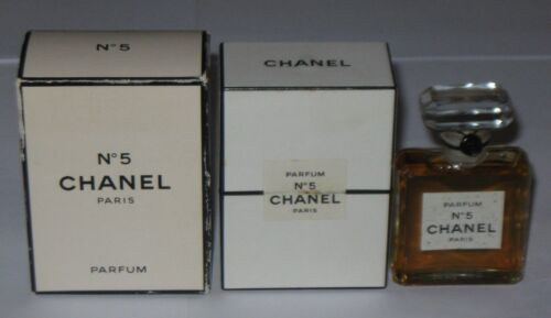 Vintage Perfume Bottle Chanel No 5 Bottle/Boxes TPM Sealed - 1/2 OZ -  Full