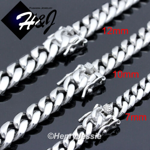 "18-40""MEN Stainless Steel 7/10/12/14mm Silver Miami Cuban Curb Chain Necklace"