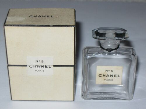 Vintage Perfume Bottle Chanel No 5 Bottle/Box 1/2 OZ TPM Pre 1950 Open/Empty