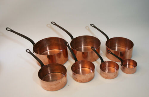 ANTIQUE SET OF SEVEN FRENCH COPPER PANS,1900 GREAT CONDITION.