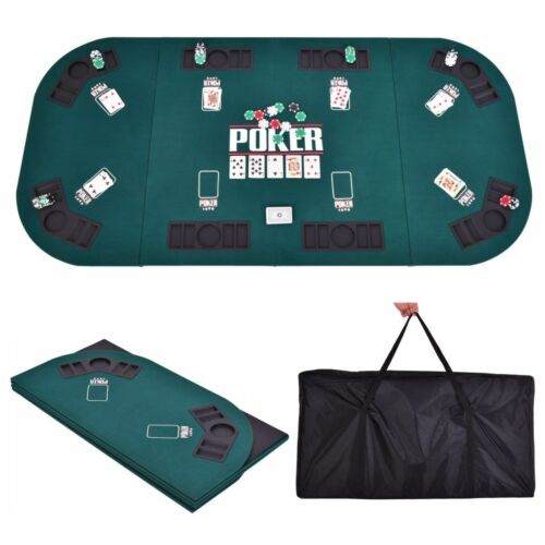 Folding Four Fold 8 Player Poker Table Top & Carrying Case Portable Green New