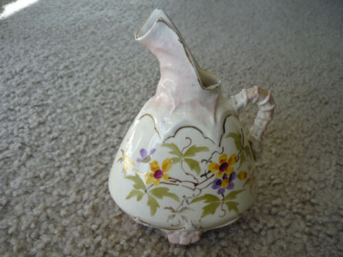 EARLY ANTIQUE PITCHER/ BUD VASE/HAND PAINTED PORCELAIN