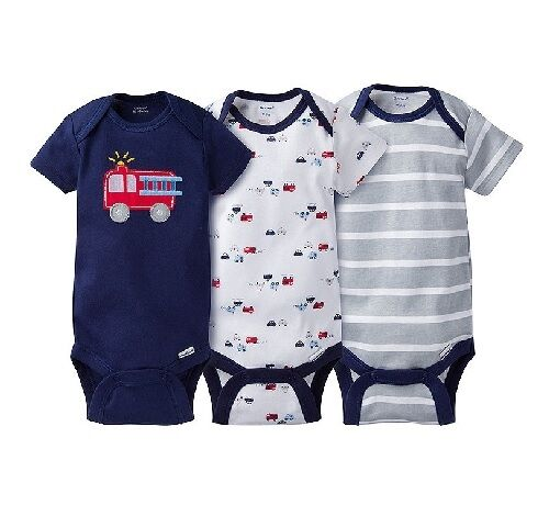 Gerber Baby Boys 3-Piece Rescue Firetruck Onesies Set; BABY CLOTHES SHOWER GIFT