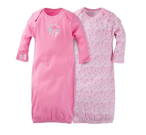 Gerber 2-PK Girl Lap Shoulder Gowns Pink w/Flowers Size 0-6M BABY CLOTHES GIFT