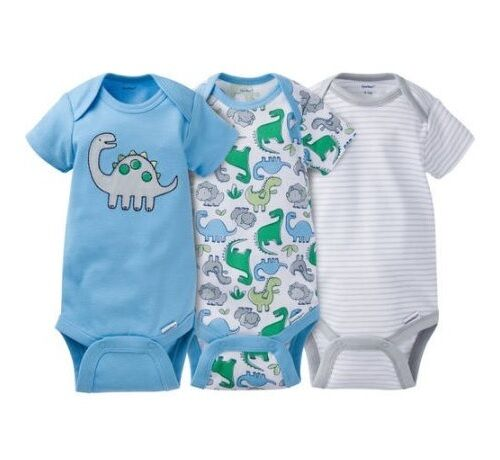 Gerber Boy 3-Piece Blue w/ Dinosaurs Onesies Set Size 3-9M BABY CLOTHES GIFT