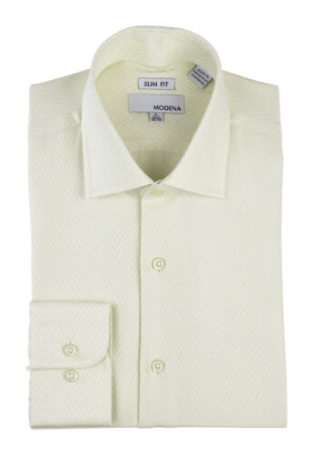 $59 Mens Slim Fit Light Lime Green Stylish Mens Spread Collar Cotton Dress Shirt