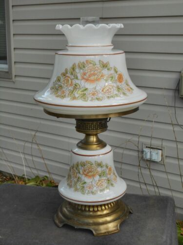 """Vintage Hurricane Lamp Quoizel Electric Glass Table Lamp 21"""" Tall GWTW"""