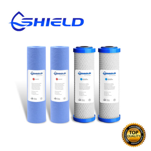 2 Set Replacement Water Filters Cartridges Sediment +  0.5 Micron Coconut Carbon <br/> 1 Micron Nano Silver Antibacterial Sediment Filter