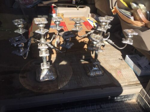 Antique Vintage Silver Plated 5 Lite Candelabra Pair