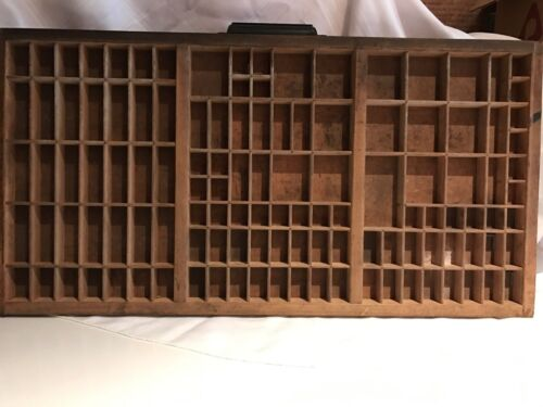Printers Type Drawer - Vintage Wooden Letterpress Tray with Cast Iron Handle
