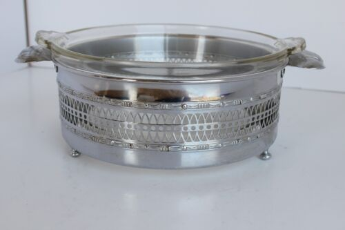 """Vintage Silver Plate 8"""" round serving dish ring with glass Pyrex dish"""