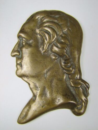 Antique Bronze George Washington Bust Decorative Arts Paperweight high relief