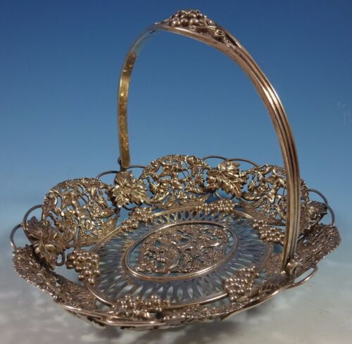 Theodore Starr Sterling Silver Basket with Cherubs and Grapes #2302 (#1430)