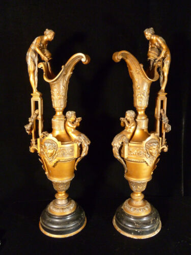 PAIR OF MONUMENTAL 19TH CENTURY VICTORIAN FIGURAL WOMAN AT THE WELL EWERS - 1880