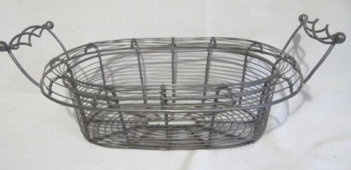 VINTAGE PRIMITIVE WOVEN TWIST WIRE EGG VEGETABLE GATHERING BASKET W/ HANDLES