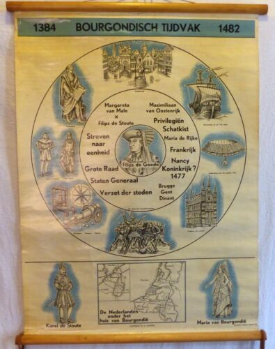 VINTAGE ROLL SCHOOL HISTORY HOLLAND YEARS 1384-1482 ANTIQUE POSTER 65x86Cm