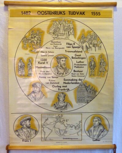 VINTAGE ROLL SCHOOL HISTORY HOLLAND YEARS 1482-1555 ANTIQUE POSTER 65x86Cm