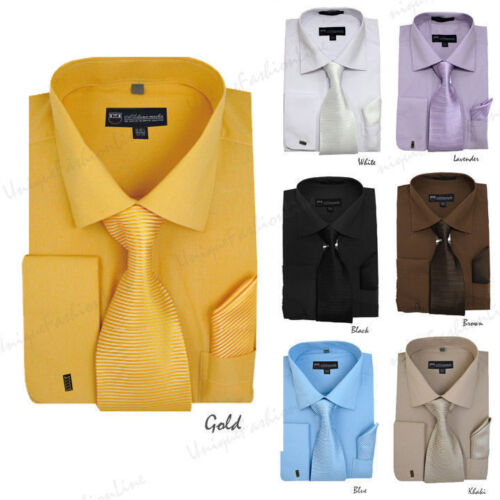 New Men's Spread Collar French Cuff Dress Shirt w/ Matching Tie, Handkerchief