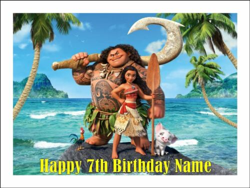 MOANA A4 Edible Icing Birthday Cake Party Decoration Topper #1