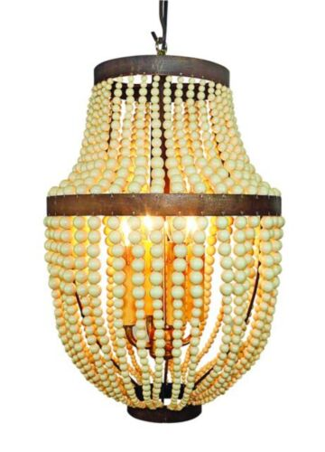 Creme Beaded and Iron Faux Bakelite Four Light Chandelier Vintage Style