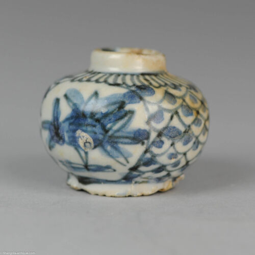 Antique Chinese 16C Ming Wanli Small Pot Fish Peach Scaled  Old