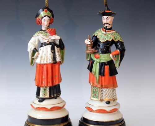 Pair Old Paris Vintage Occupied Germany Porcelain Turkish Oriental Figure Lamps