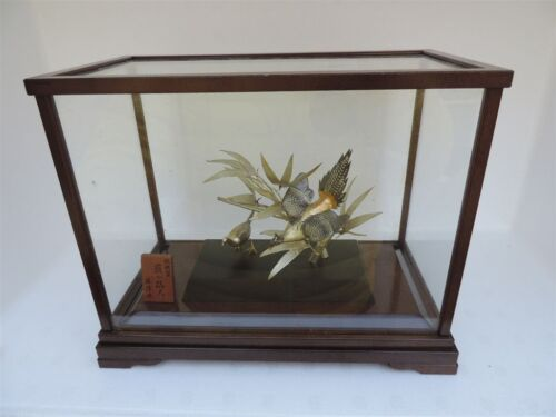 FINEST RARE ANTIQUE SIGNED JAPANESE STERLING SILVER BIRDS BAMBOO SCULPTURE