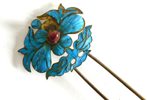 Large Qing Dynasty Kingfisher feather Hair Pin Antique VINTAGE Chinese 19th 碧玺